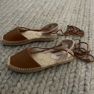 Soludos Brown Ankle Wrap Espadrille Sandals